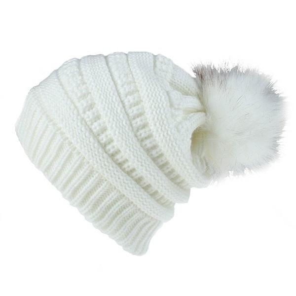 knit pompom toque - ivory