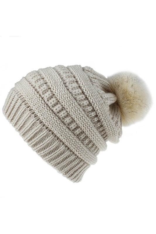 knit pompom toque -  beige