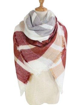 plaid blanket scarf - cream/red