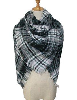 plaid blanket scarf - green/blk