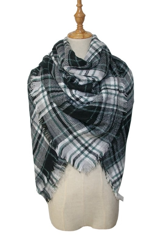 plaid blanket scarf - green/blk