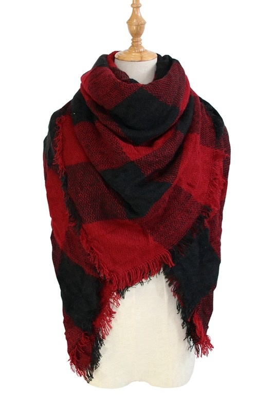 plaid blanket scarf - blk/red