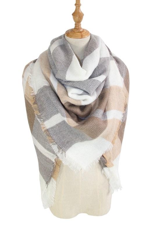 plaid blanket scarf - cream/grey