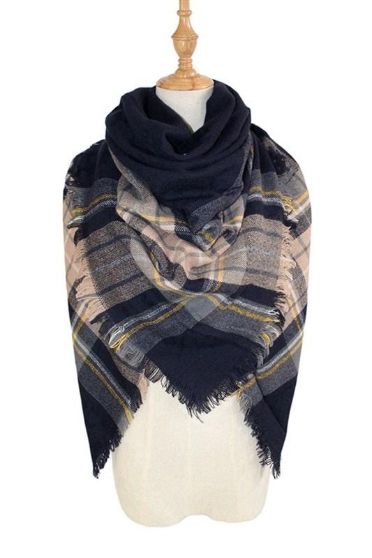 plaid blanket scarf - navy/yellow