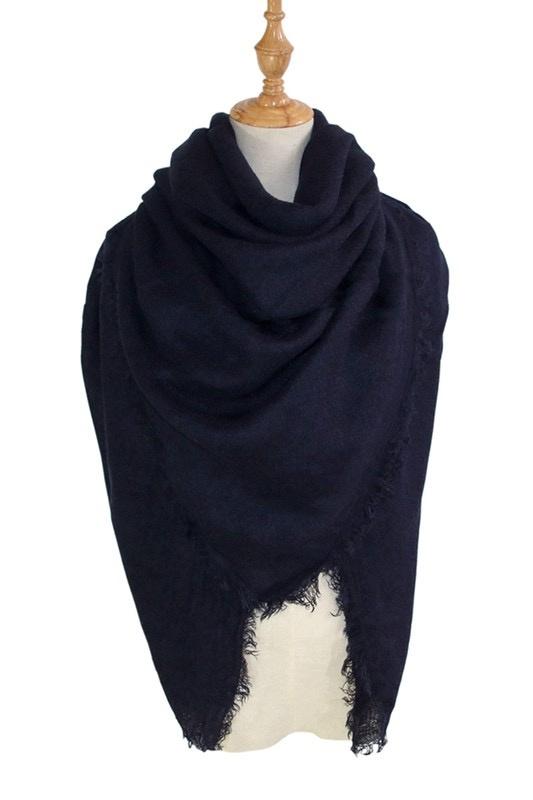 solid blanket scarf / shawl - black