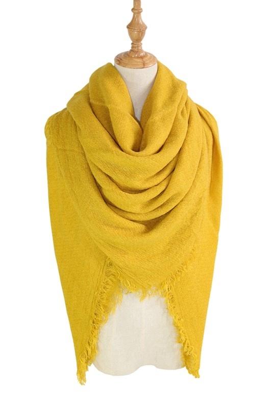 solid blanket scarf / shawl - mustard
