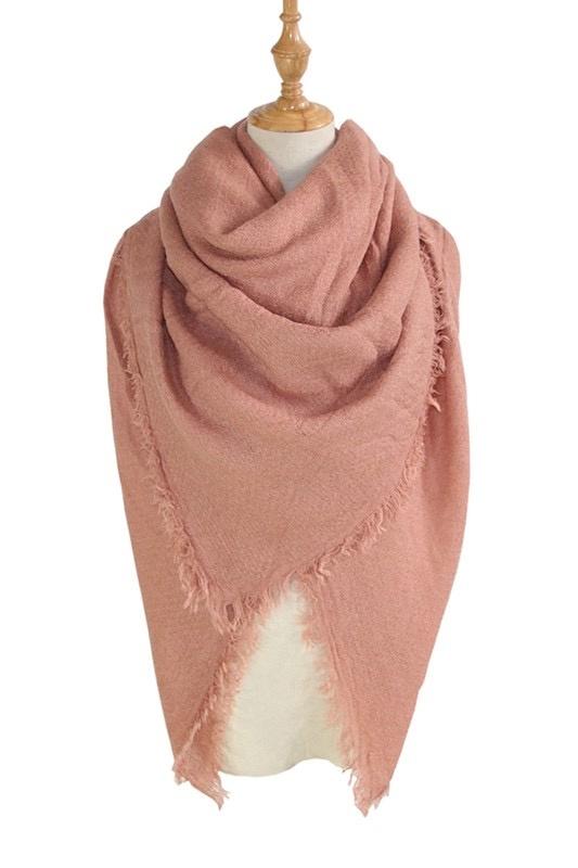 solid blanket scarf / shawl - pink