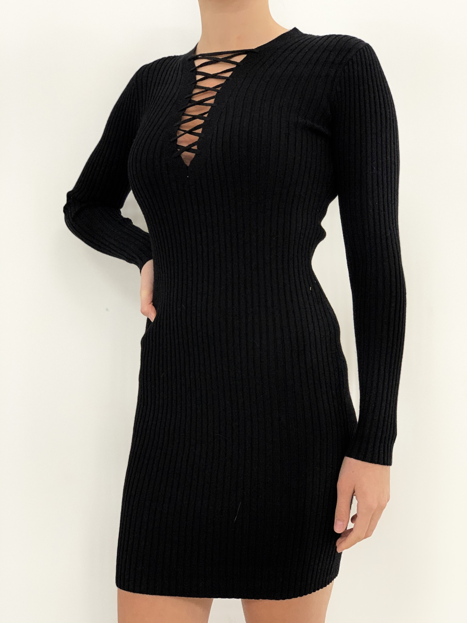 laceup sweater dress