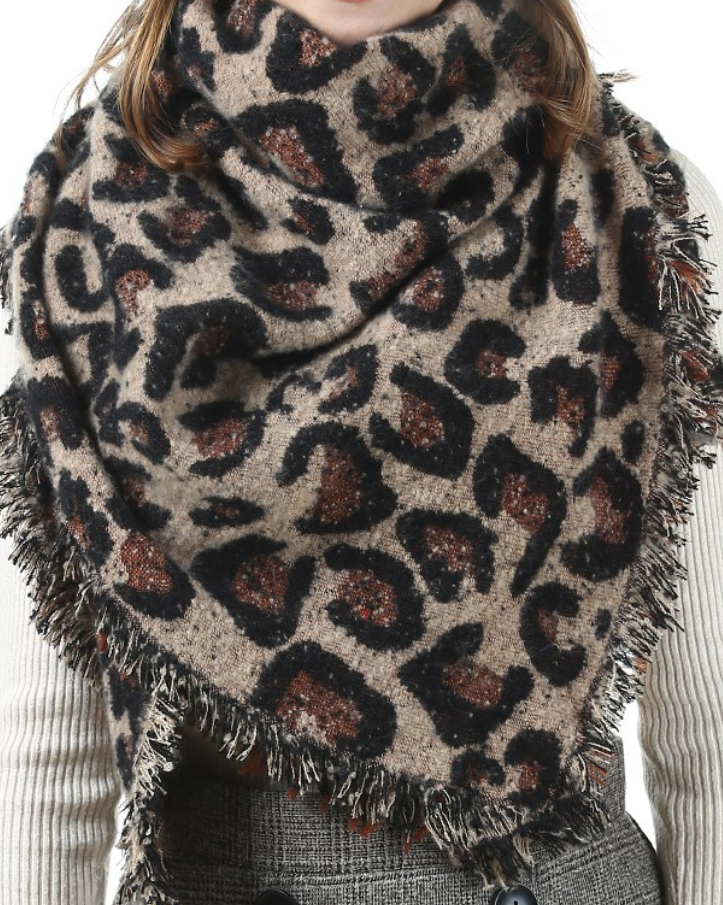 leopard print blanket scarf - coffee