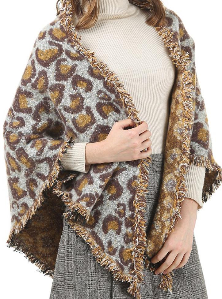 leopard print blanket scarf - brown