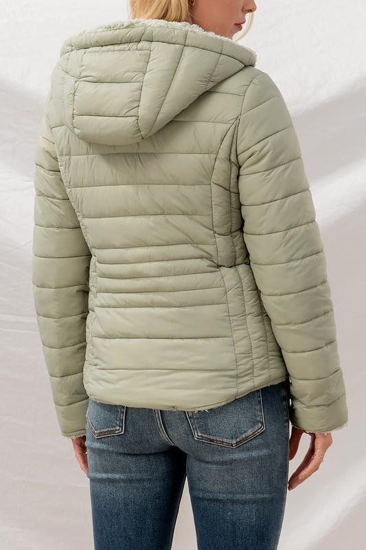 Tara reversible sherpa lined puffer jacket