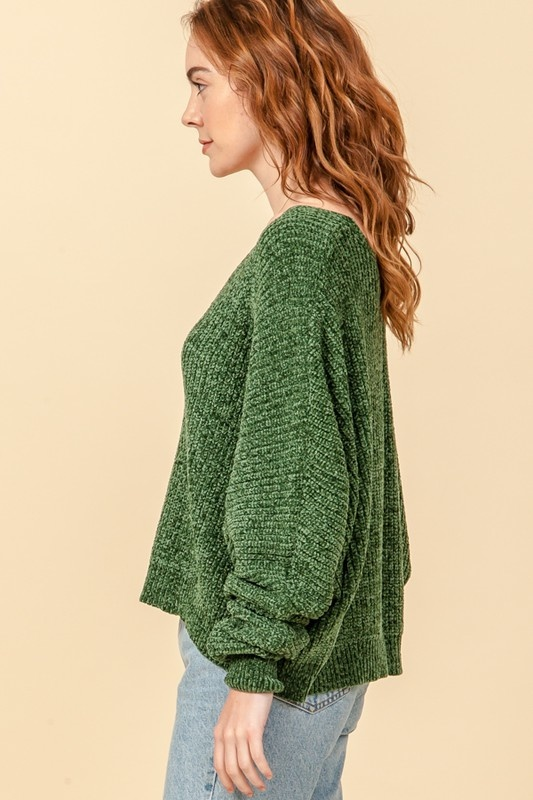 Happy V neck dolman sweater