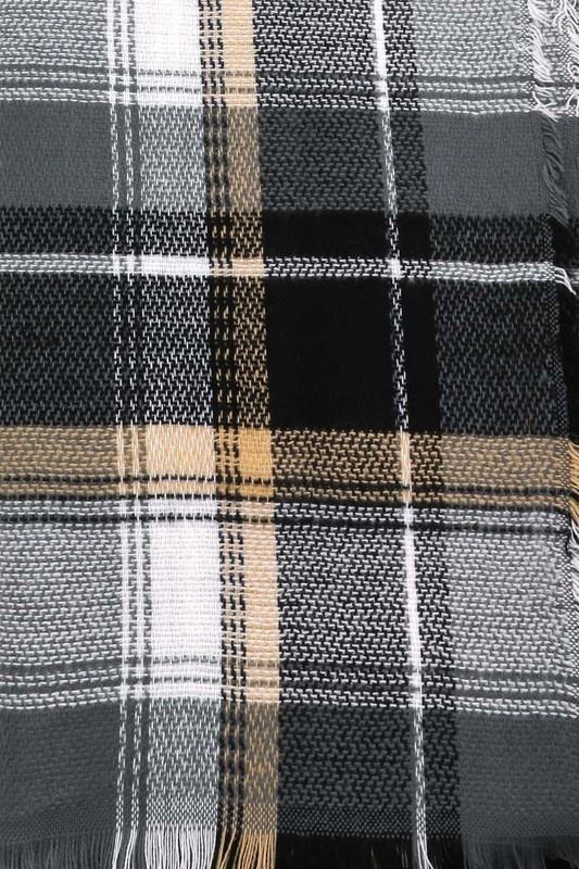 plaid blanket scarf - black/white/taupe