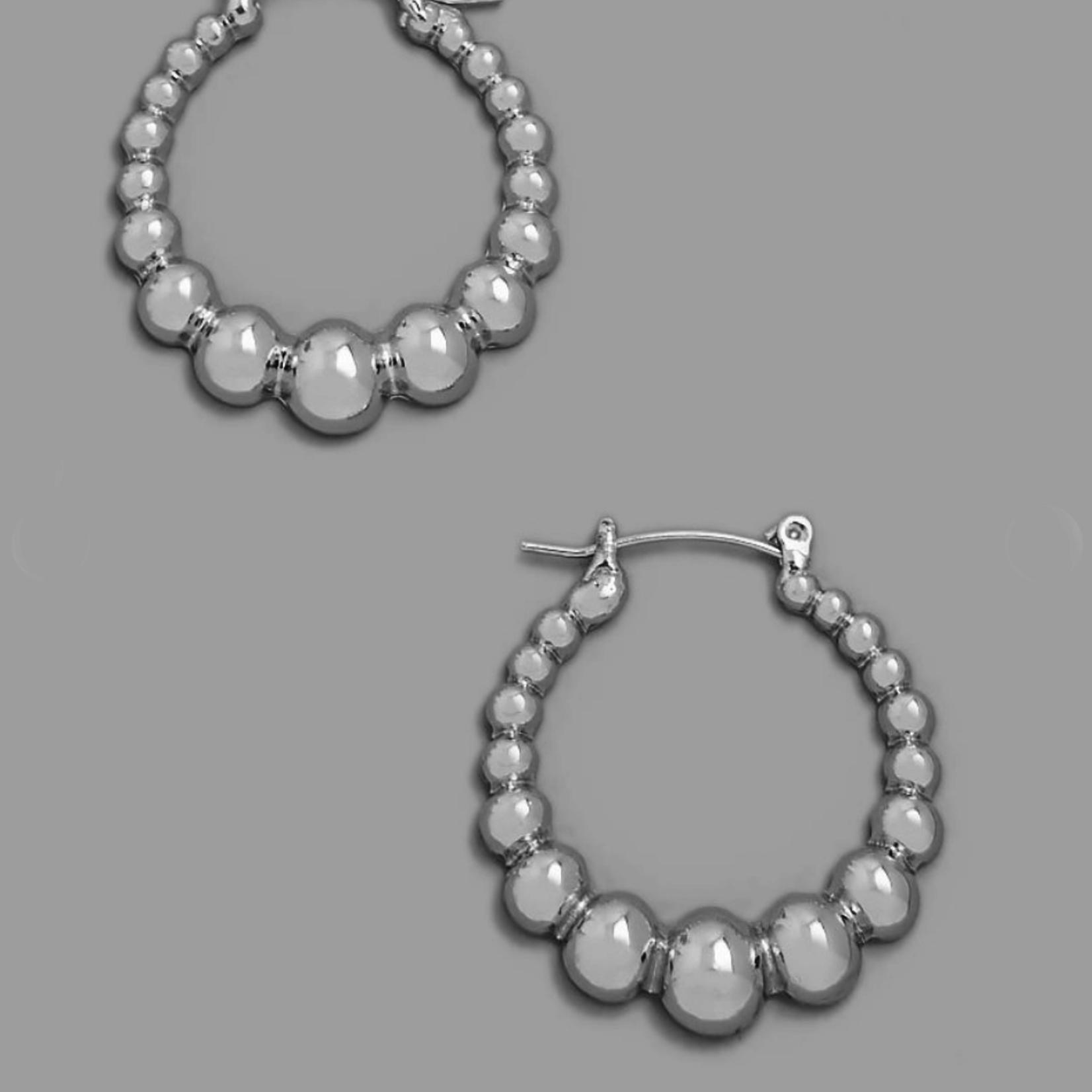 bubble hoop earring - silver