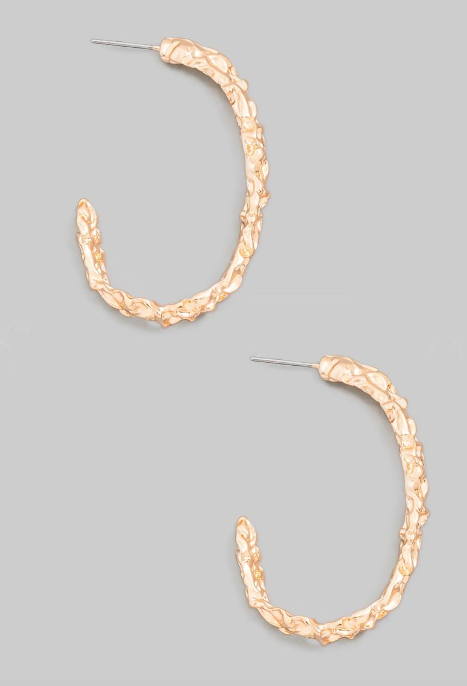 crinkle hoop earring - gold