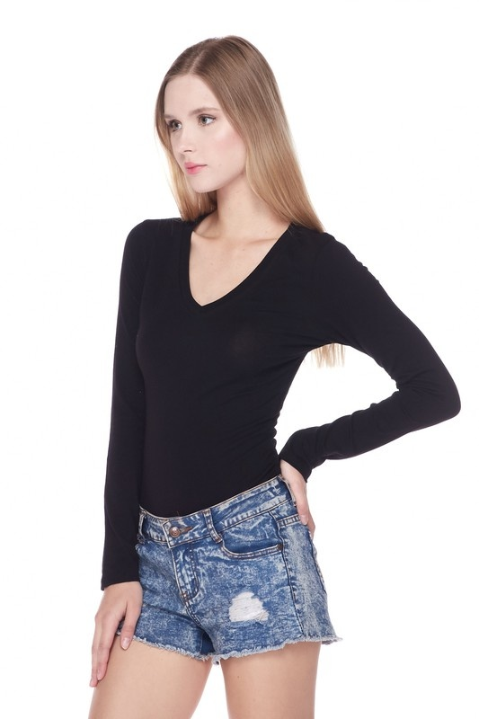 balanced long sleeve V-neck bodysuit