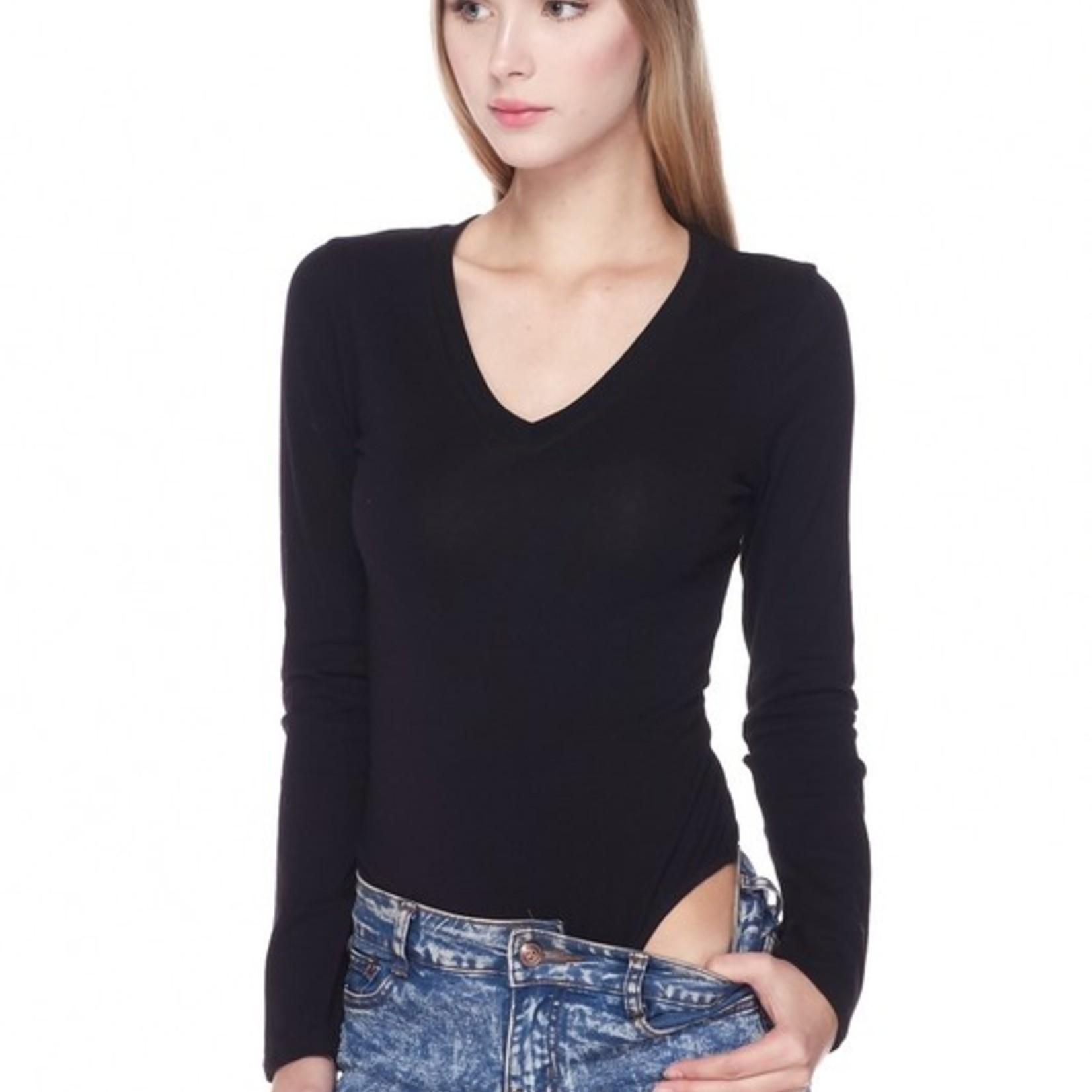 balanced long sleeve V-neck bodysuit