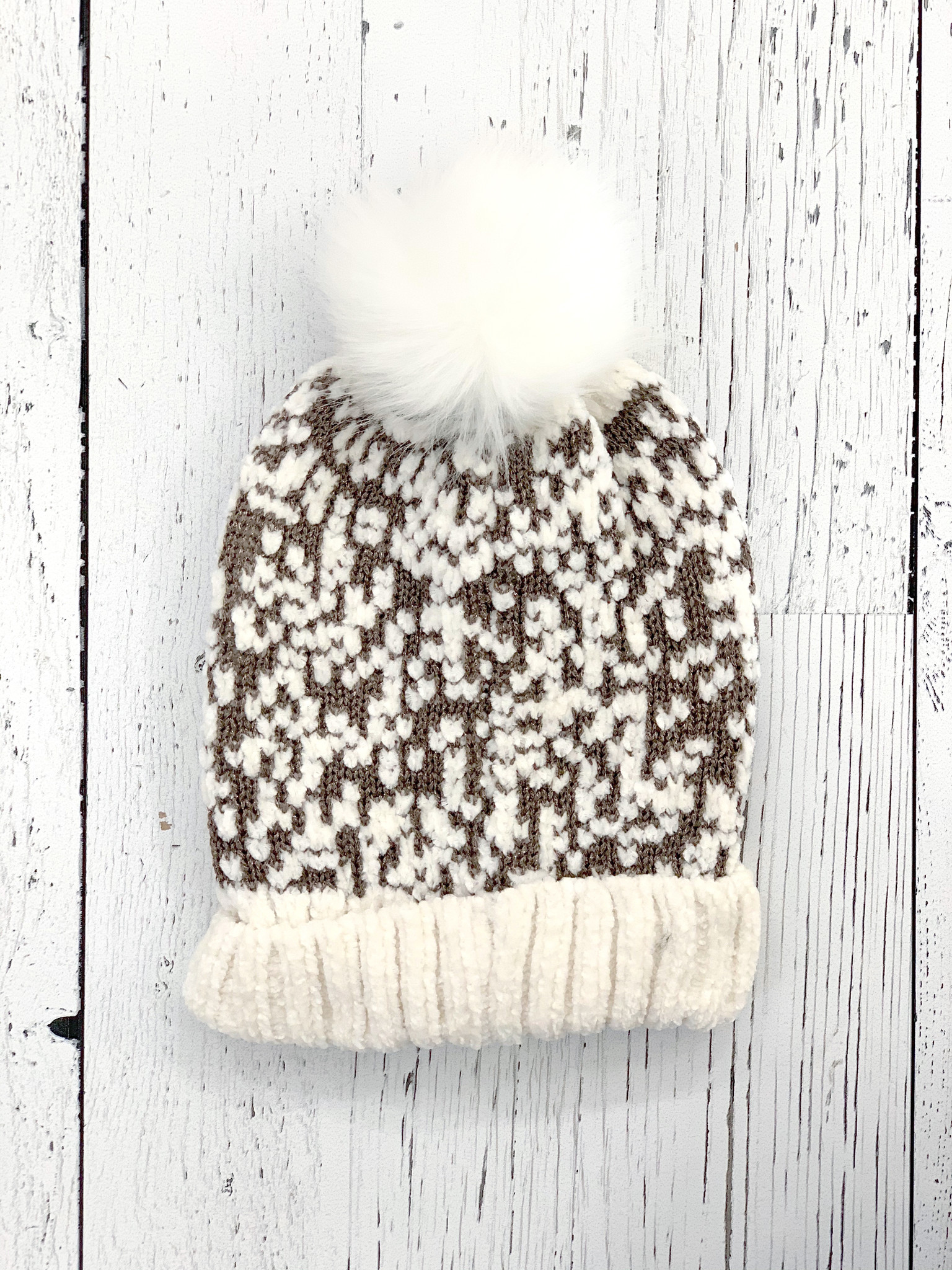 chenille sparkle touque - white/gold