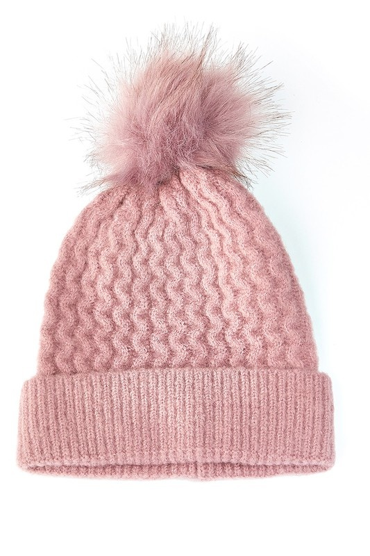 knit touque - pink