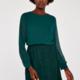 apricot - long sleeve lace skirt dress