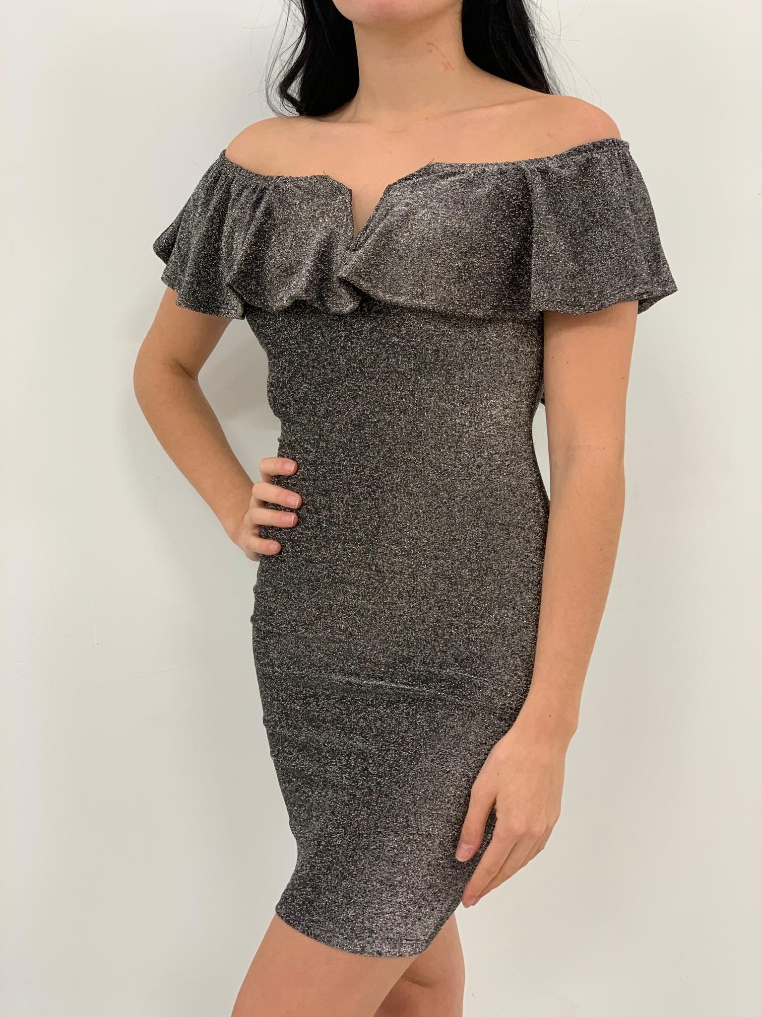 off shoulder glitter dress