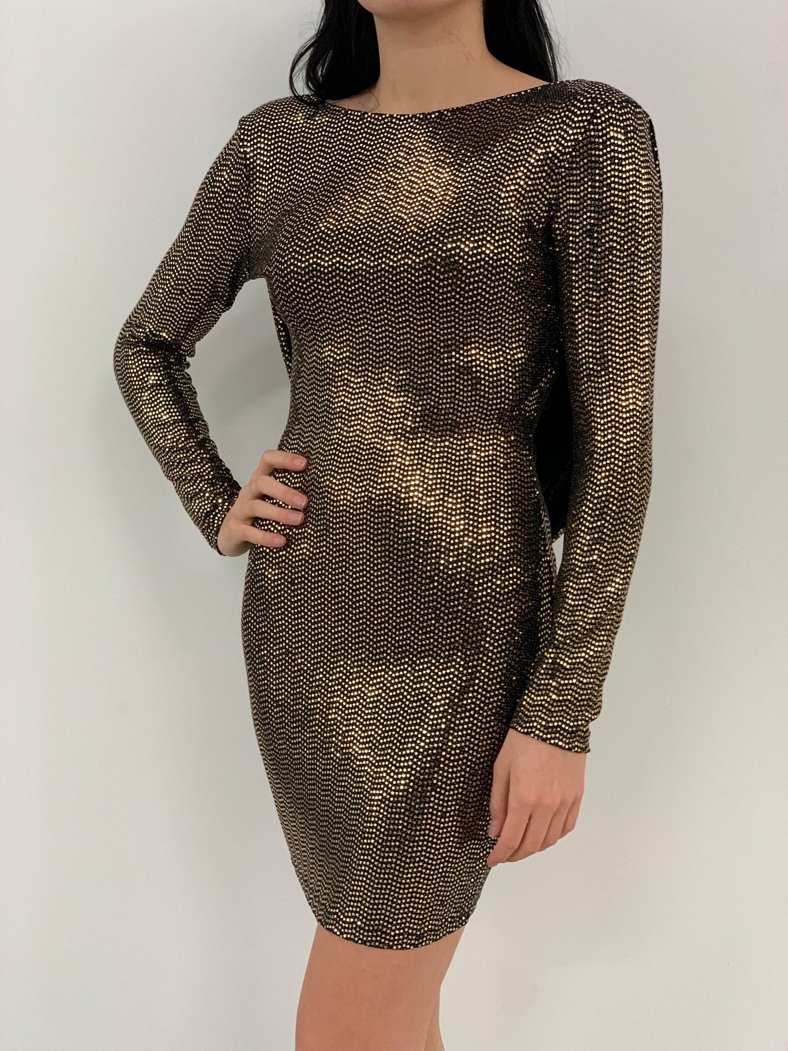 long sleeve  metallic open back dress