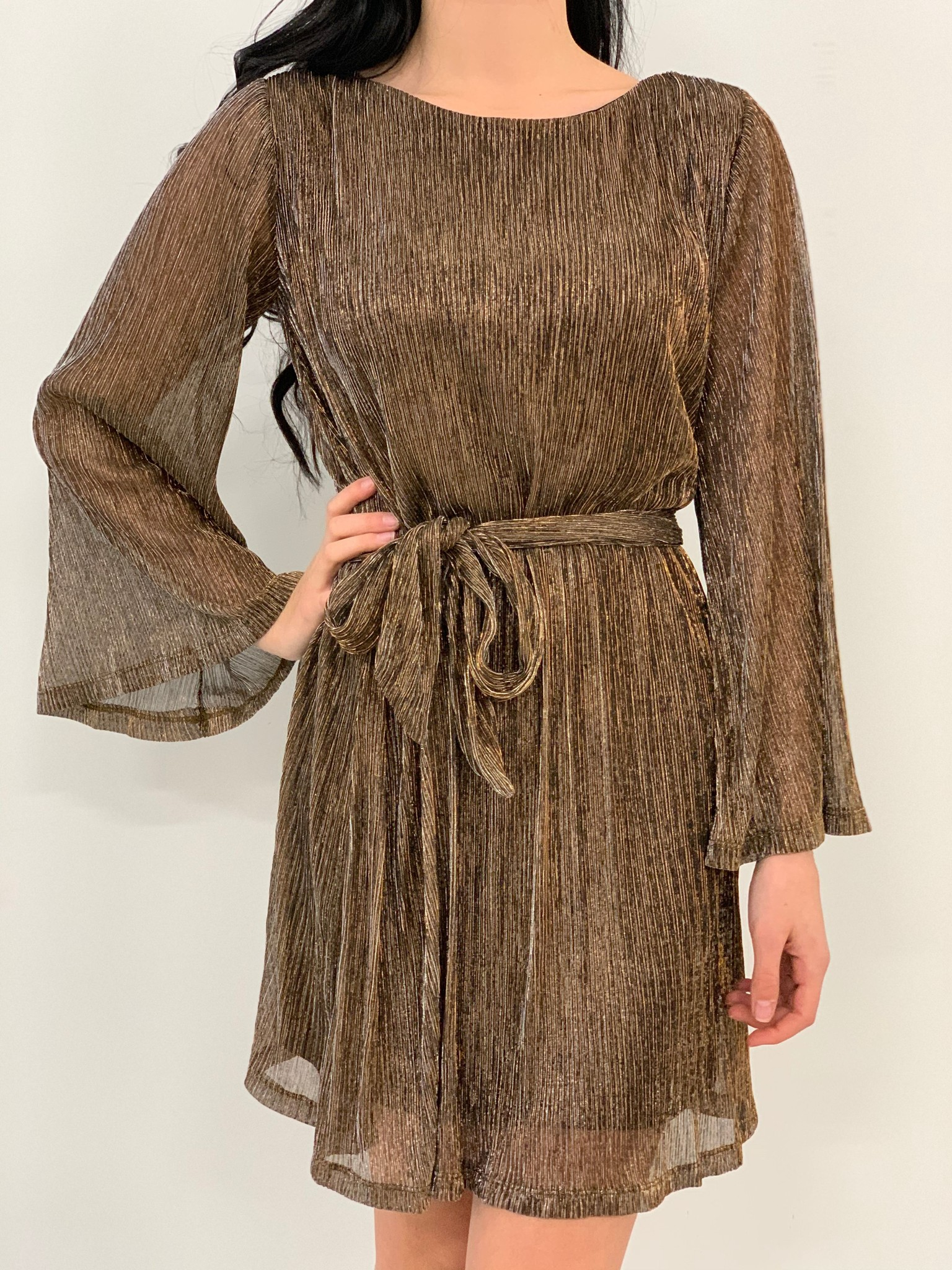 shimmer bell sleeve dress
