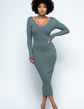 Harriet double V ribbed long sleeve dress