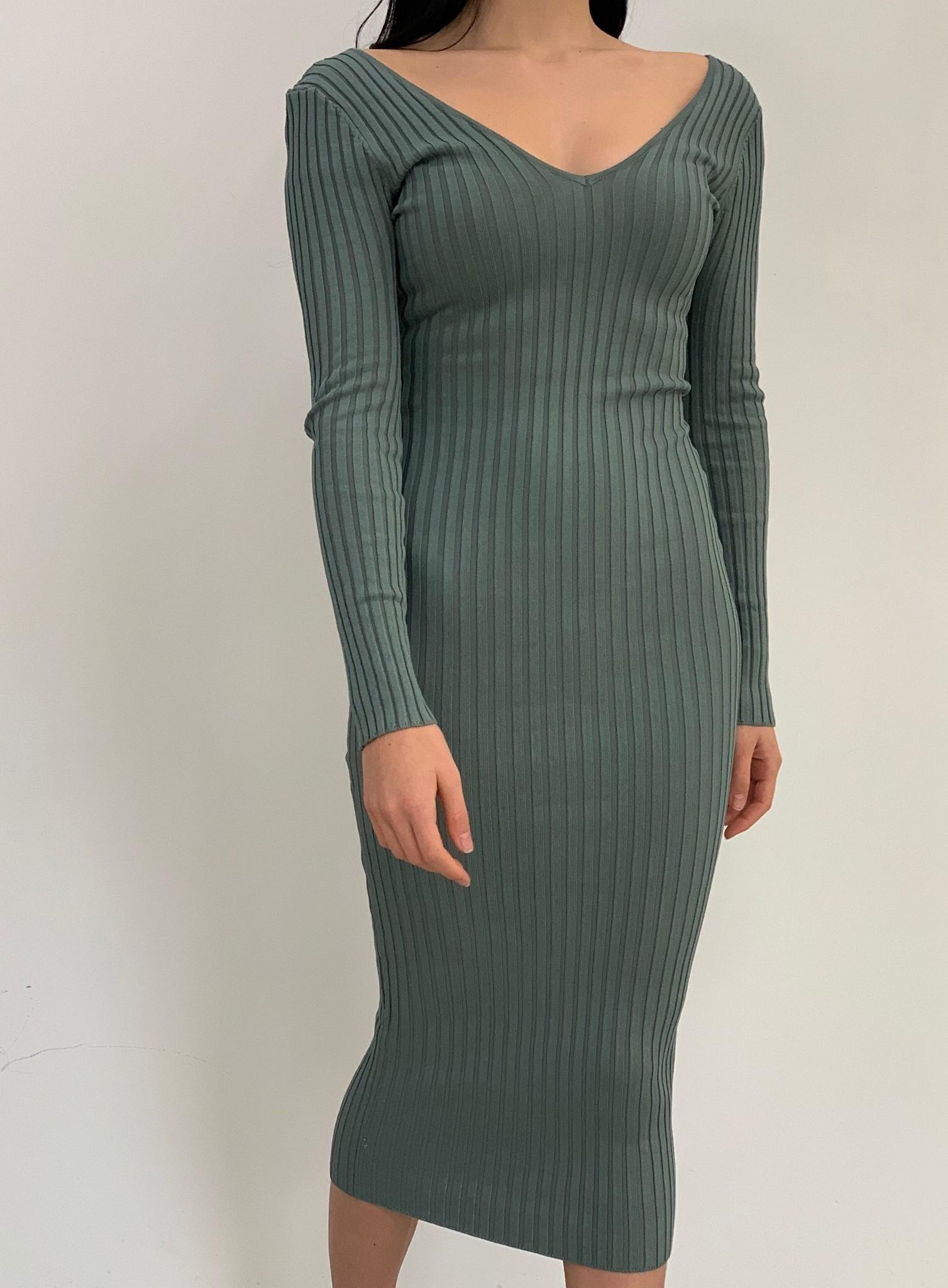 Harriet double V ribbed long sleeve dress
