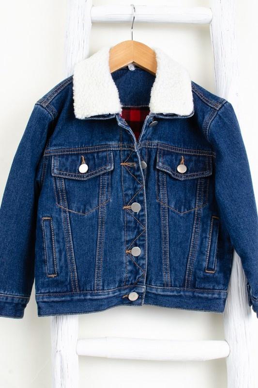 Morgan jr buffalo plaid jean jacket