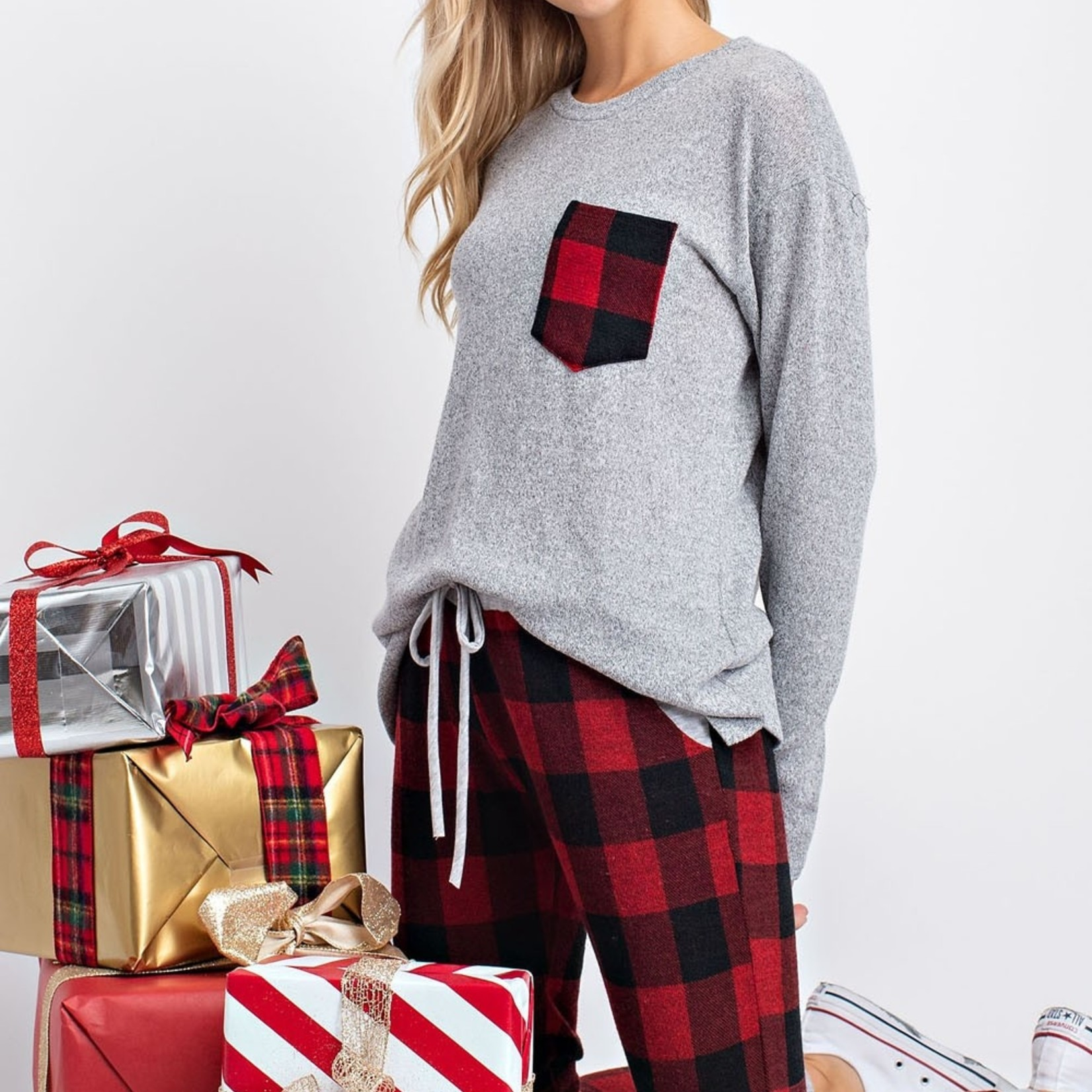 Milly plaid patch top
