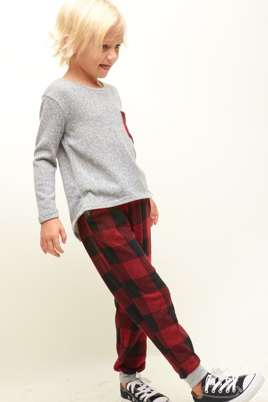 Milly Jr plaid patch top