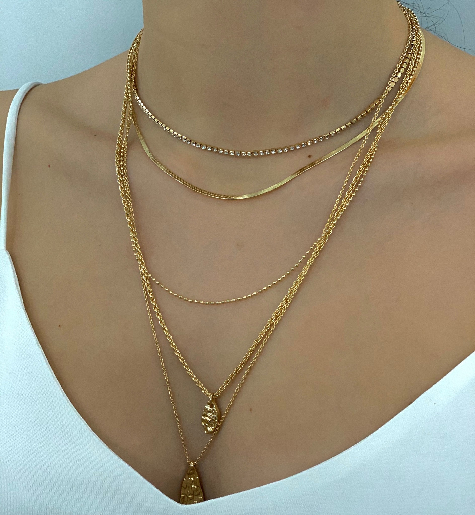 double pendant necklace - gold
