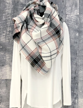 plaid blanket scarf - white/blk/red