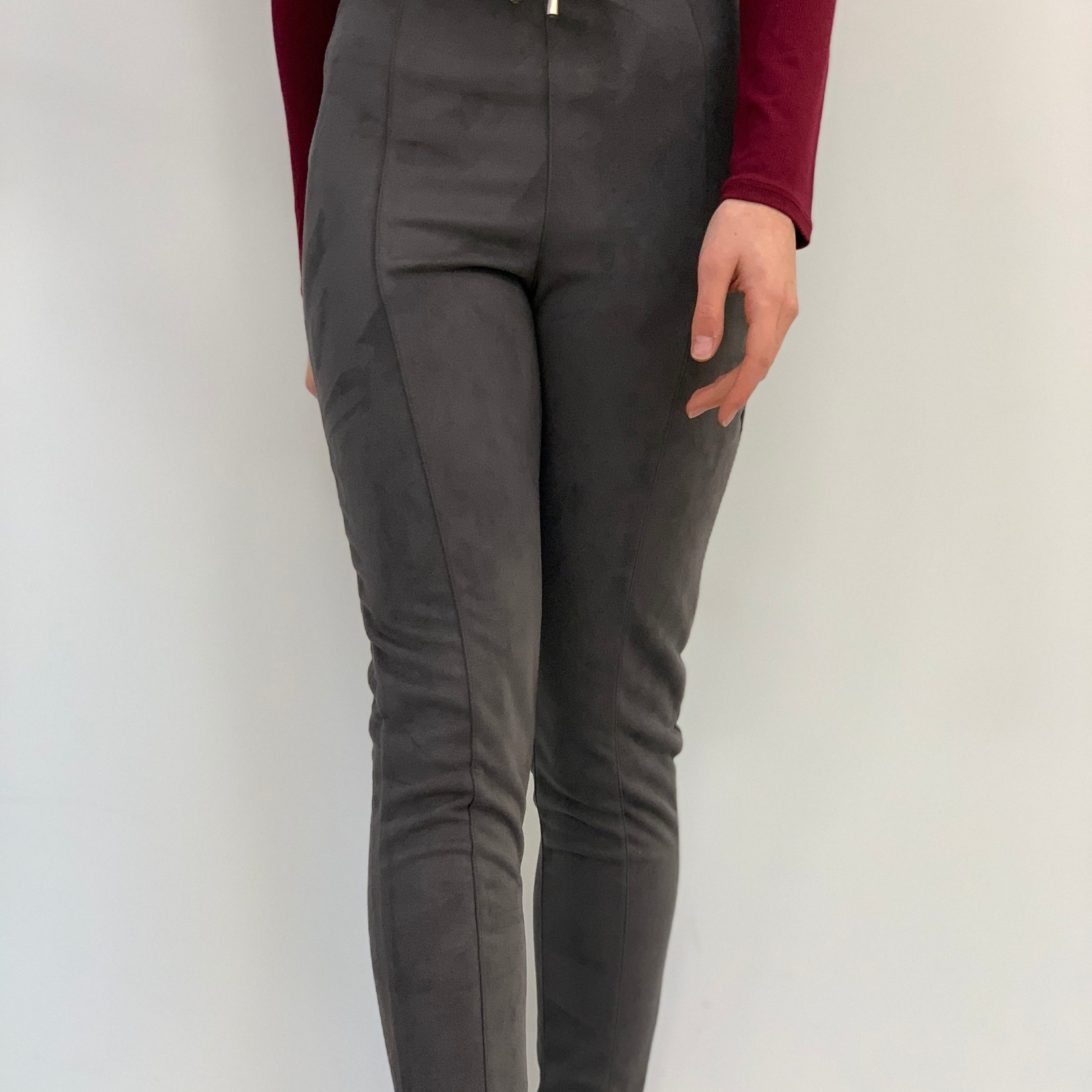 high waisted  suede pants