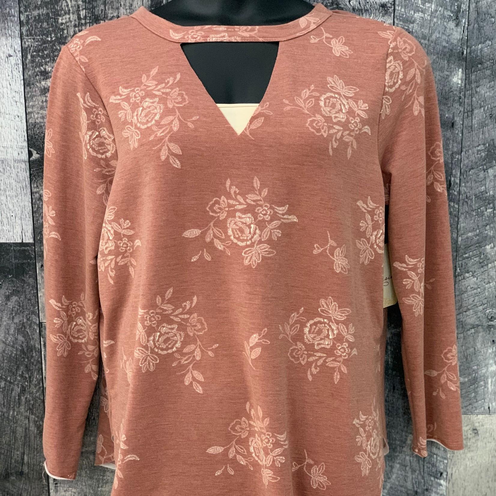 curvy long sleeve printed sweater