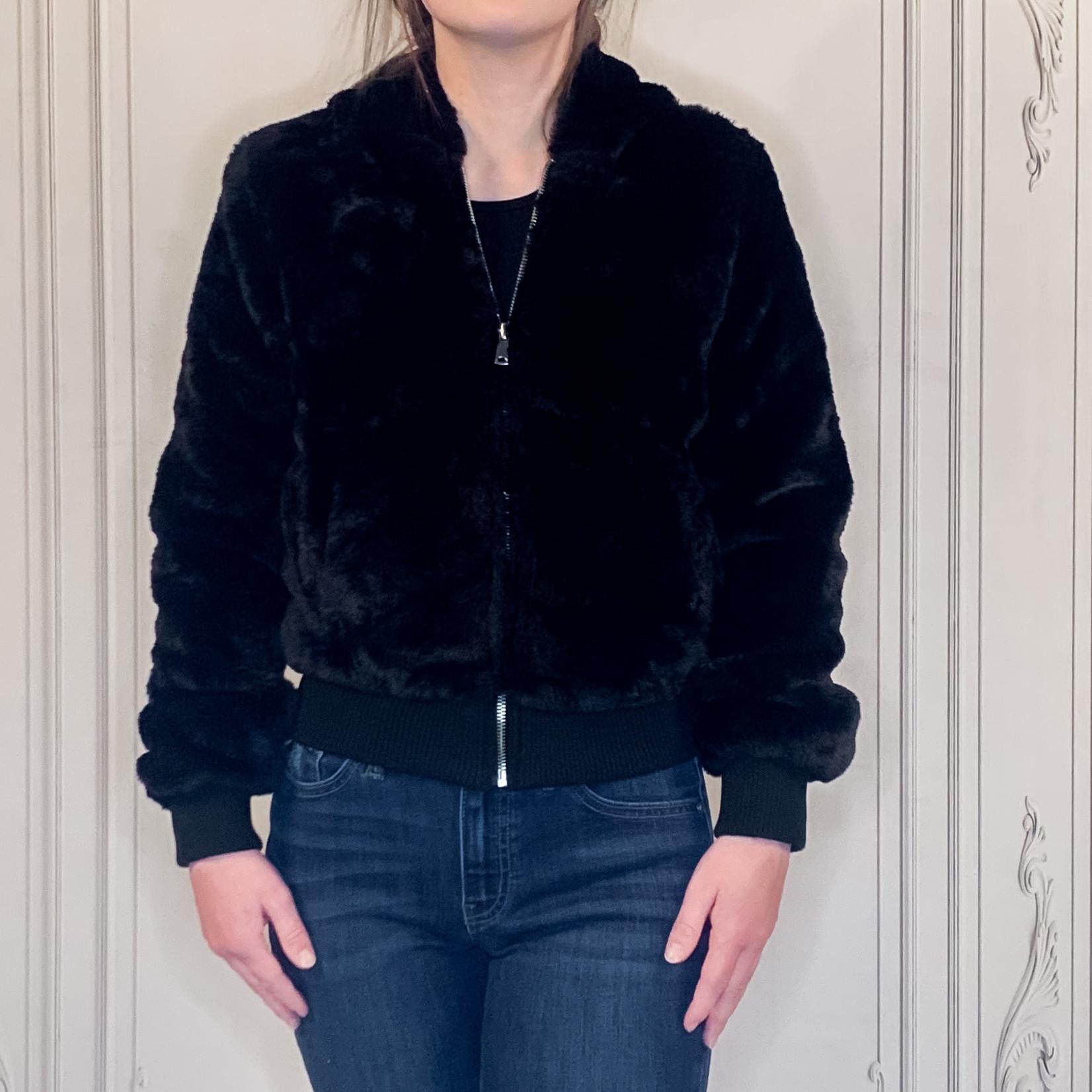 beaming faux fur bomber jacket