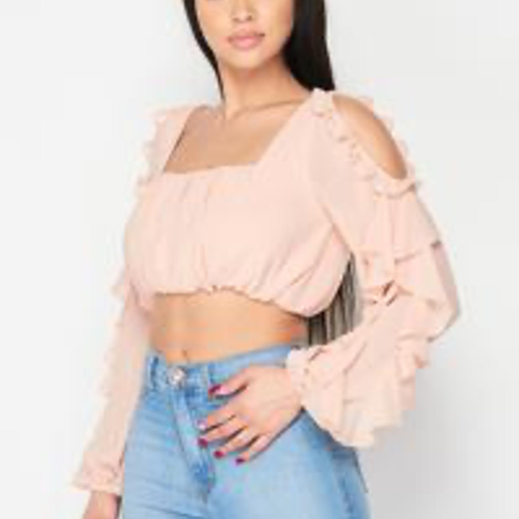 Portia ruffle shoulder top
