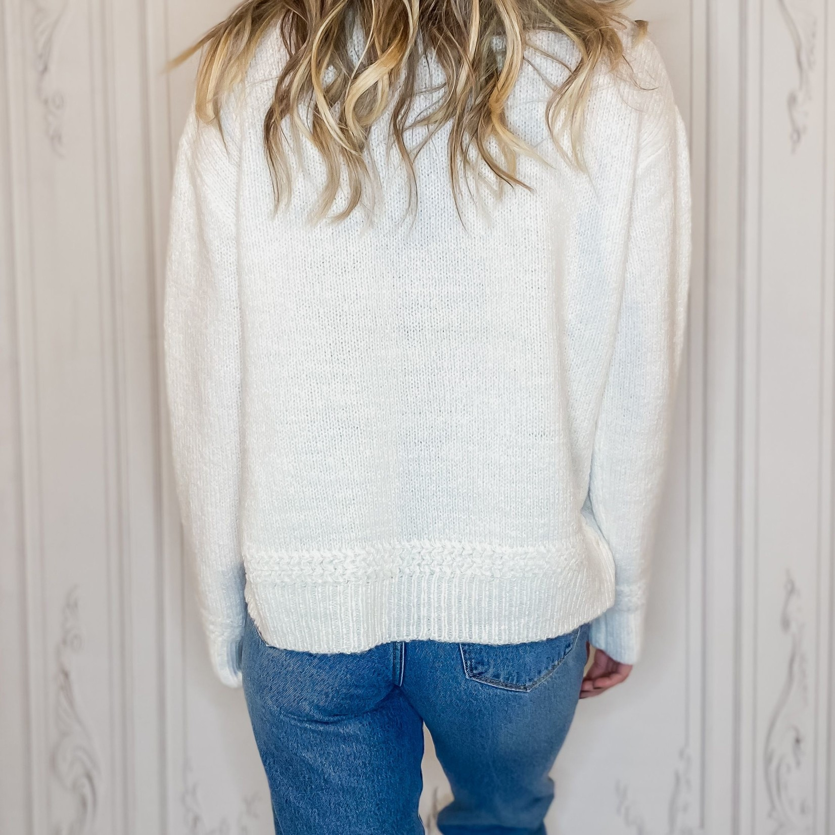 Halo stitch detail thermal sweater