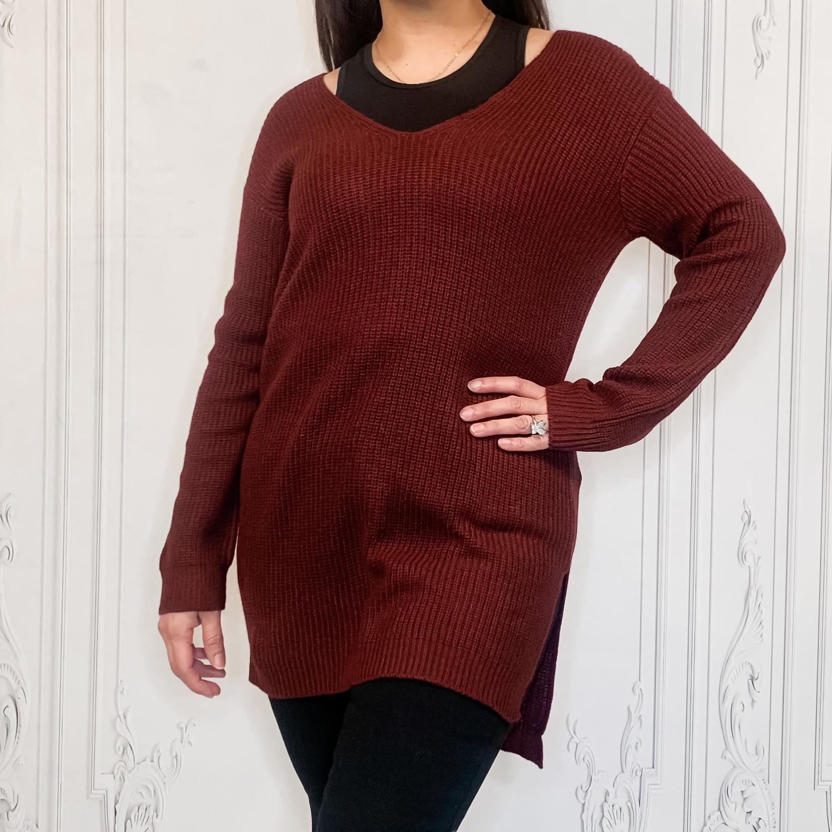 Brenda laced back tunic sweater