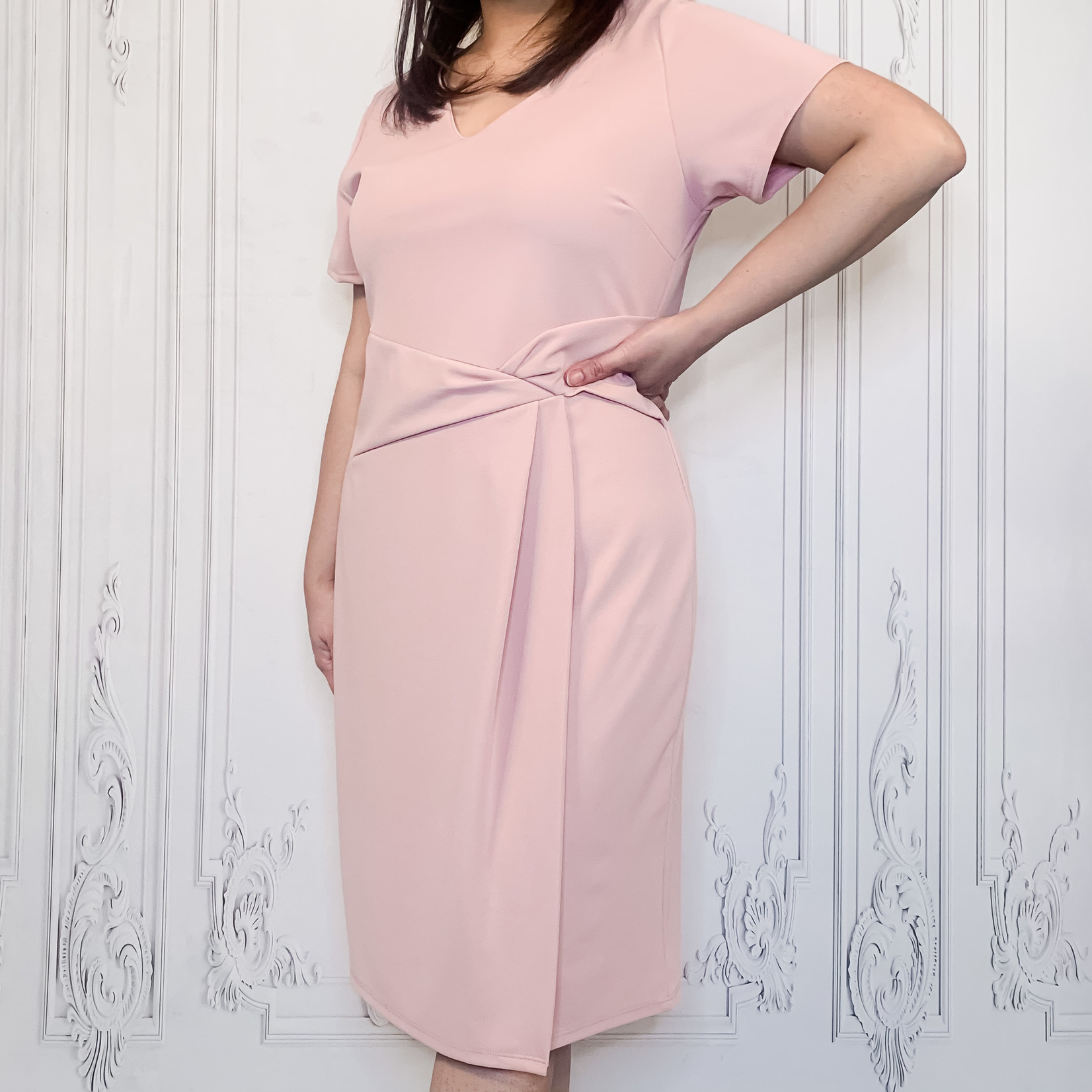 curvy cap sleeve midi dress