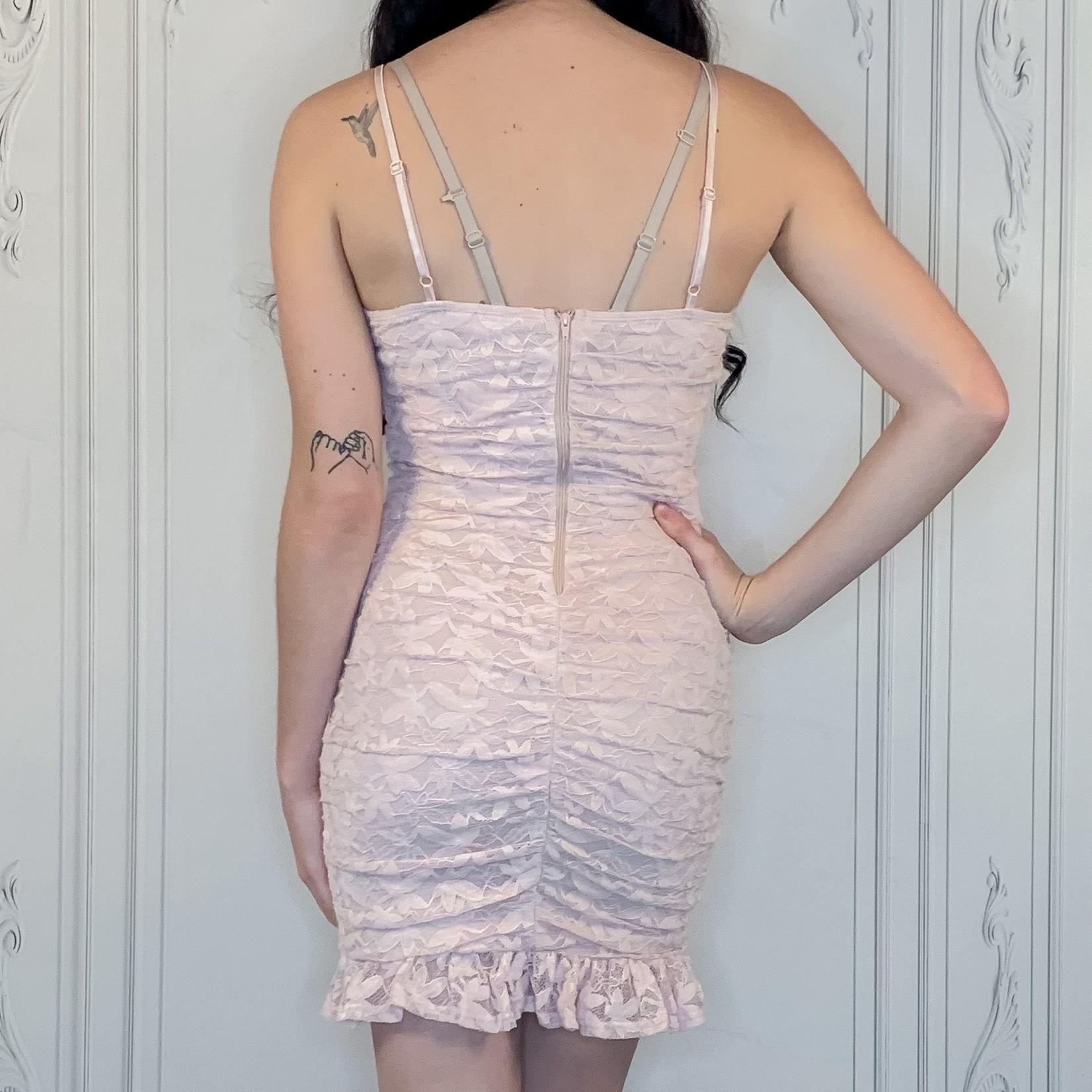 Paris lace ruched mini dress