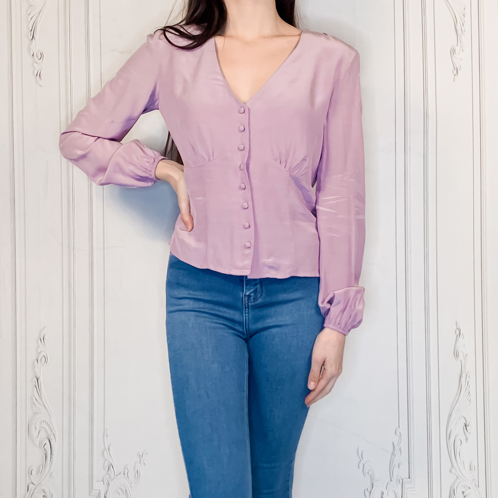 apricot - long sleeve  blouse
