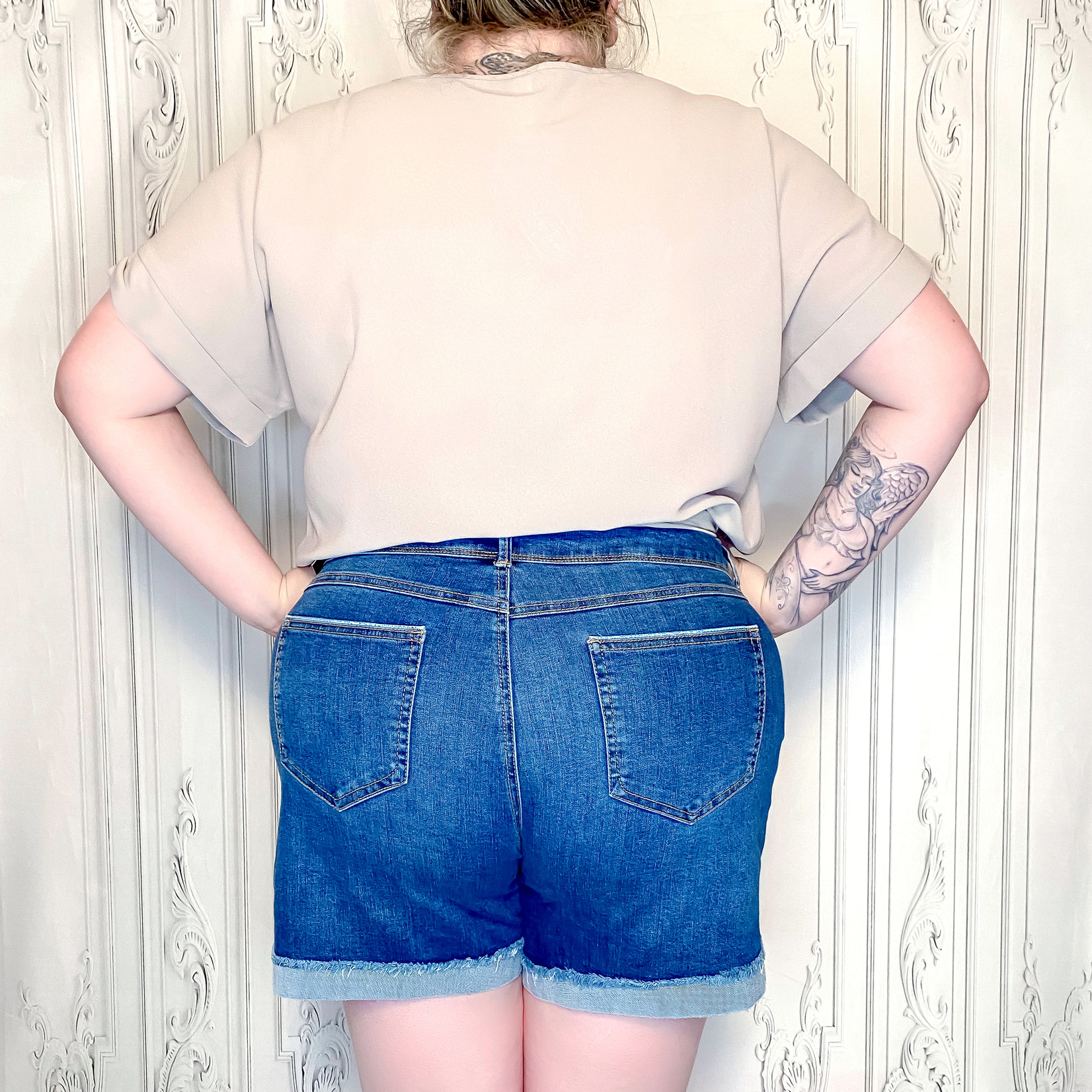 curvy 5pkt roll cuff shorts