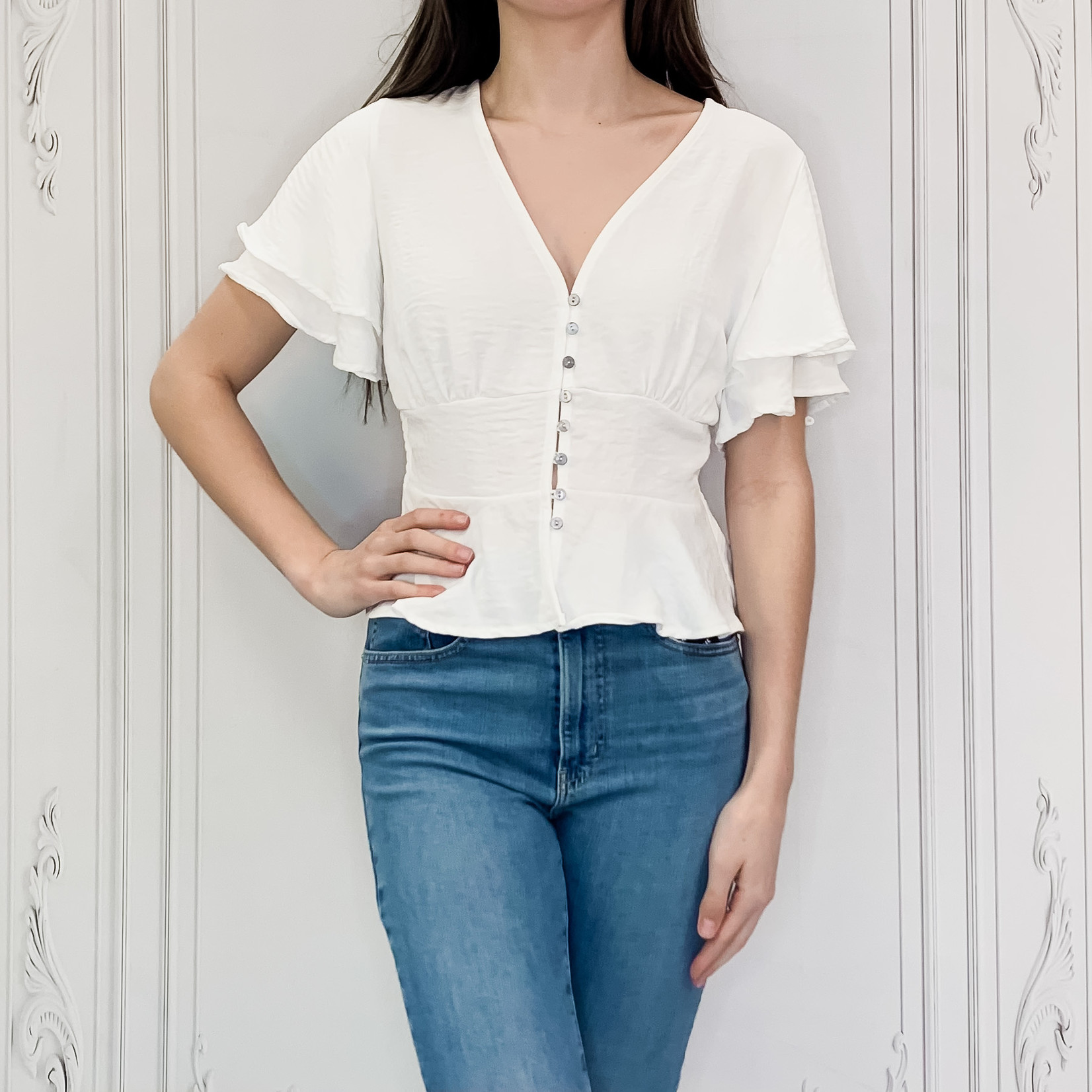 flutter sleeve button down top