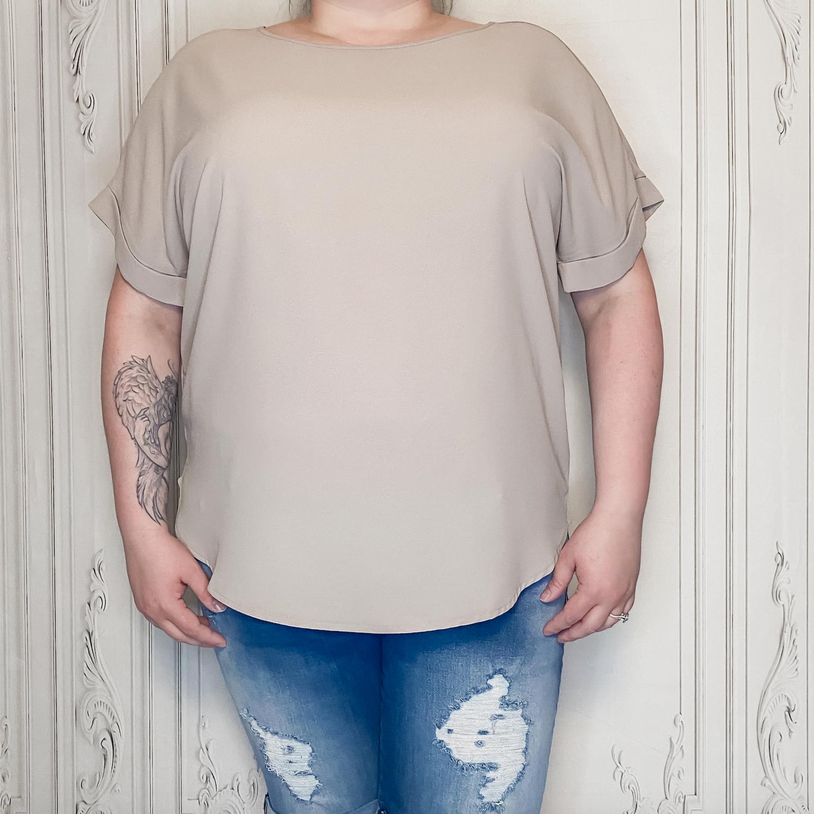 Zofia curvy cuff sleeve blouse Ash Mocha
