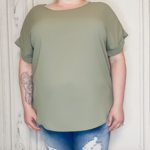 Zofia curvy cuff sleeve blouse Olive