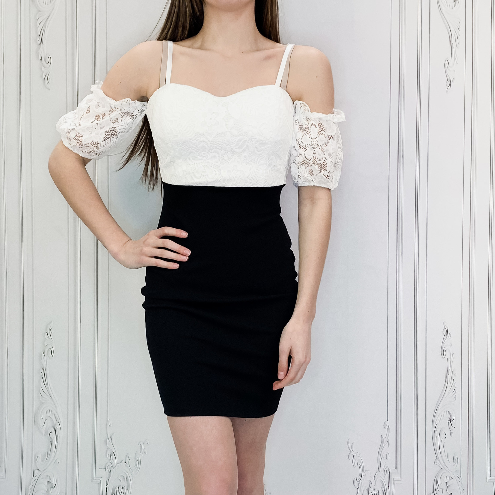 lace top fitted dress