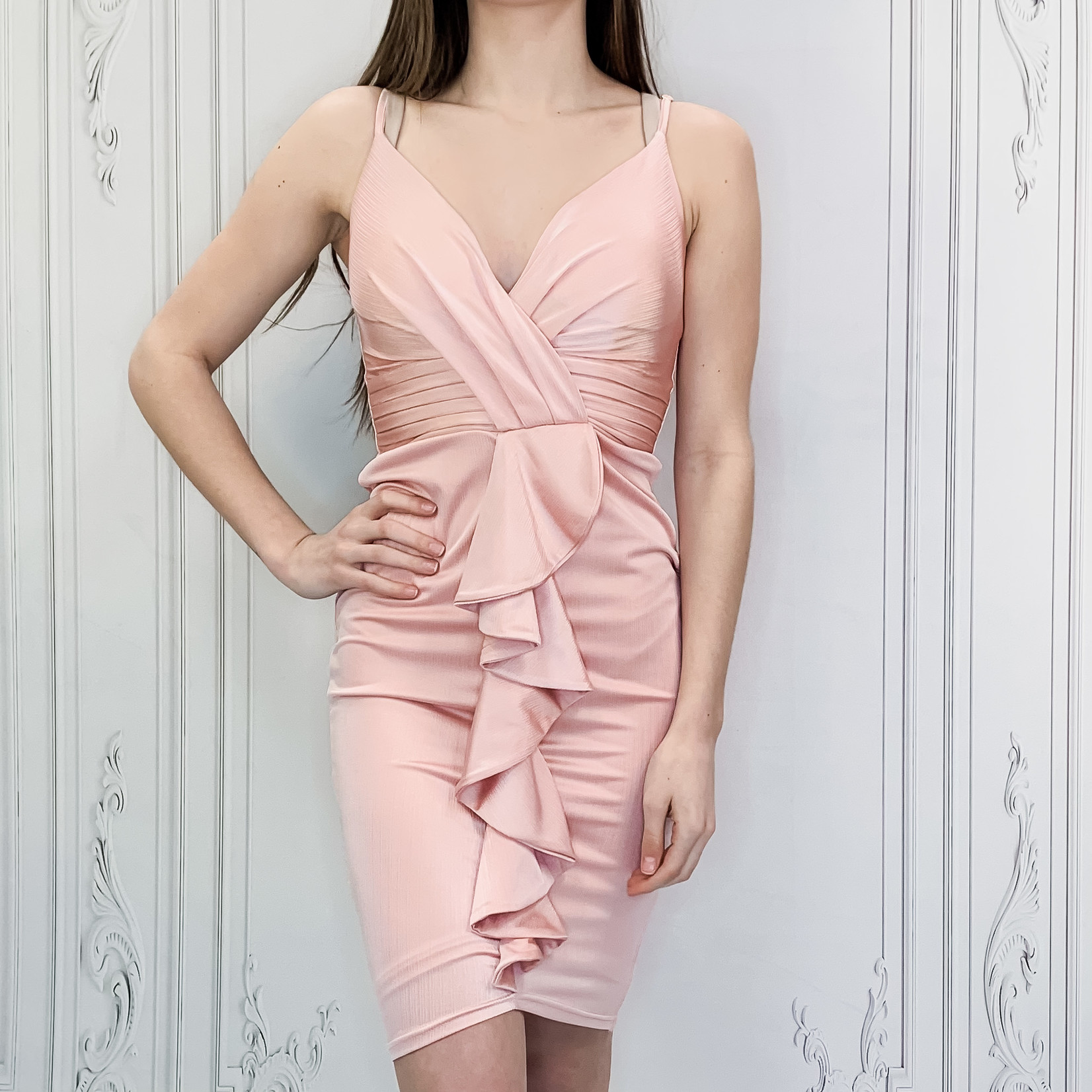 fitted ruffle detail dress