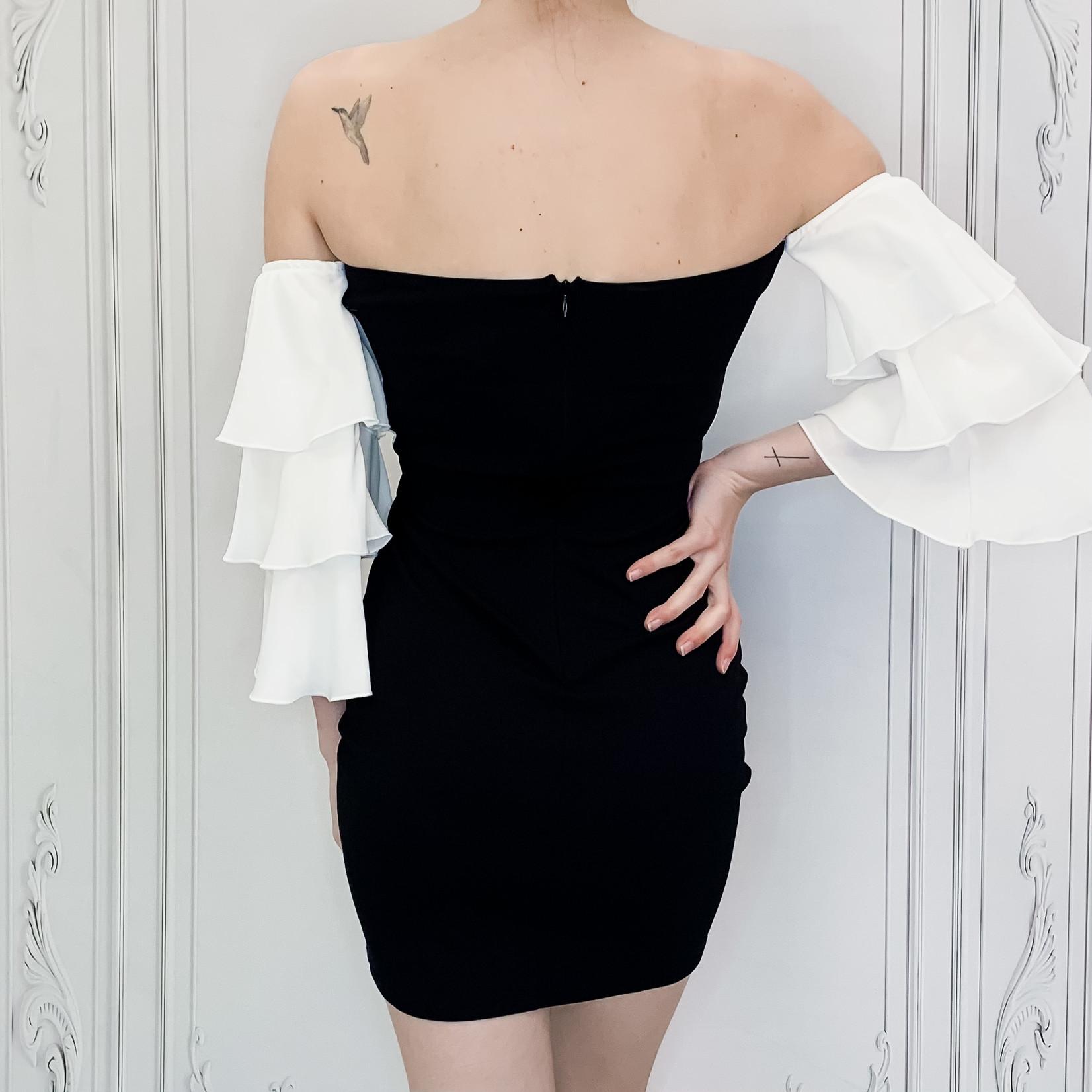 off shoulder ruffle sleeve dress